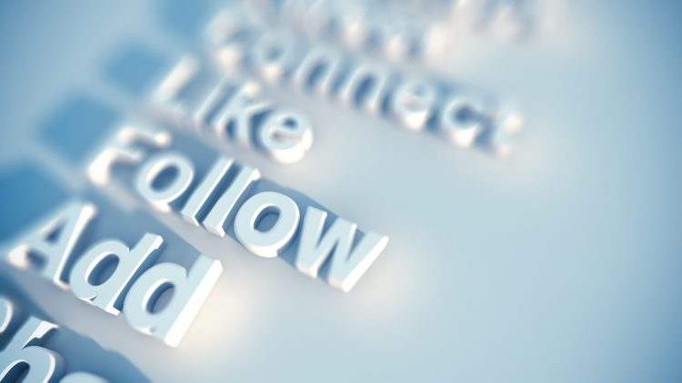 social media keywords like, follow, add, connect rendered in 3D type